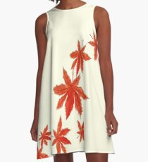 falling red maple leaves watercolor painting  A-Line Dress