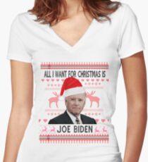 All I Want For Christmas Is Joe Biden White  Women's Fitted V-Neck T-Shirt