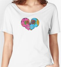 Tribal Kissing Sugar Skulls Day of the Dead Romance Doodle Women's Relaxed Fit T-Shirt