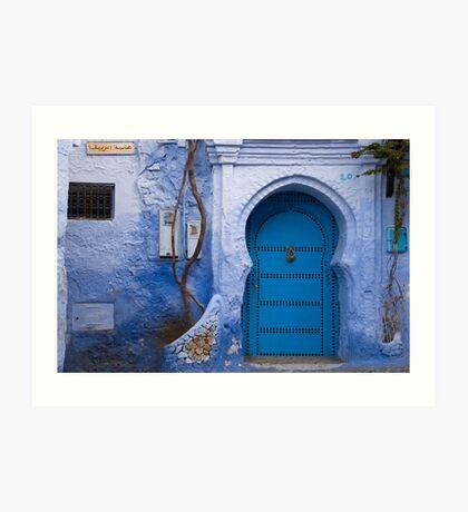 Blue Door in Blue Wall  Art Print