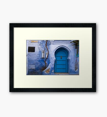 Blue Door in Blue Wall  Framed Print