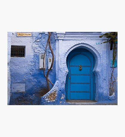 Blue Door in Blue Wall  Photographic Print