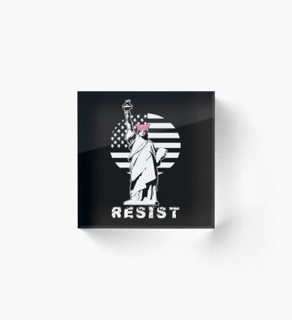 Lady Liberty Pink Protest Acrylic Block