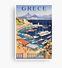1955 Greece Athens Bay of Castella Travel Poster Canvas Print