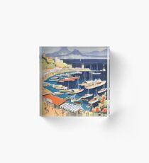 1955 Greece Athens Bay of Castella Travel Poster Acrylic Block