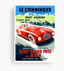 1949 French Grand Prix Racing Poster Canvas Print