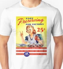 American housewife or young woman with jars, show Victory sign T-Shirt