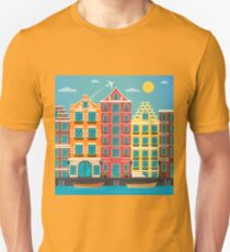 European City. Urban Scene. European Architecture. Vintage House. River with Boats. Travel Background. Flat style T-Shirt