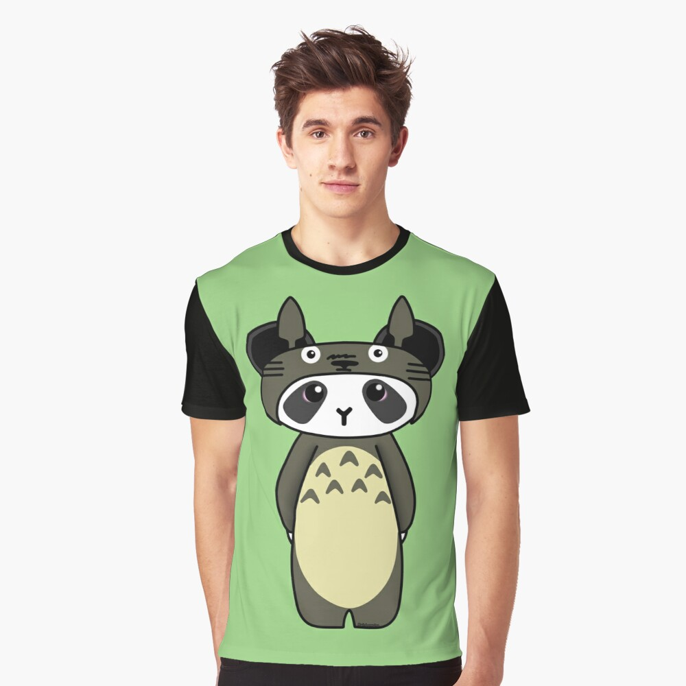 Panda in Totoro cosplay Graphic T-Shirt Front