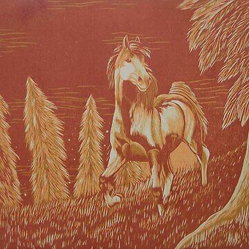 Warm Horse in Field by ArkainStudios