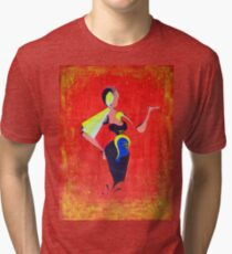 Abstract illustration of a painted fashion model on red background  Tri-blend T-Shirt