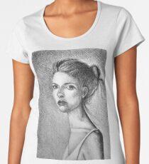 Drawing illustration of beautiful girl portrait  Women's Premium T-Shirt