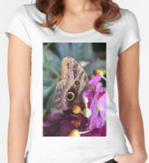 Beautiful natural background with colorful brown butterfly  Women's Fitted Scoop T-Shirt