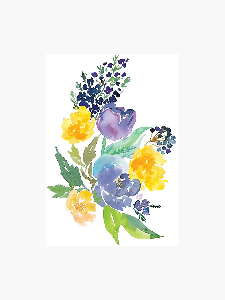 Watercolor Flowers Blue Yellow Photographic Print