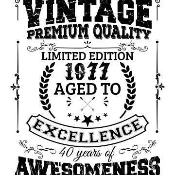 Vintage 1977 Aged To Excellence, Birthday Shirt, Pun T Shirt by acadelle