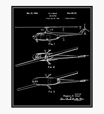 Helicopter Patent - Black Photographic Print