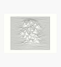 Black and white graphic - sound wave illustration - white Art Print