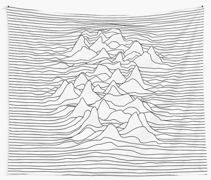 Black and white graphic - sound wave illustration - white by ohaniki