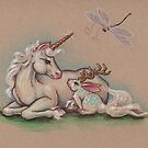 Meeting of the Mythological - Unicorn and Jackalope by justteejay
