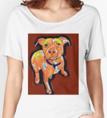 Pit Bull on maroon Women's Relaxed Fit T-Shirt