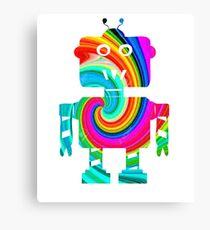 Colorful Robot T-Shirt Canvas Print