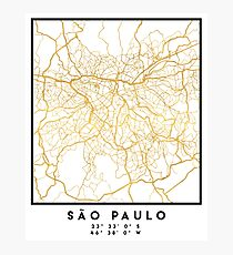 SAO PAULO CITY STREET MAP ART Photographic Print