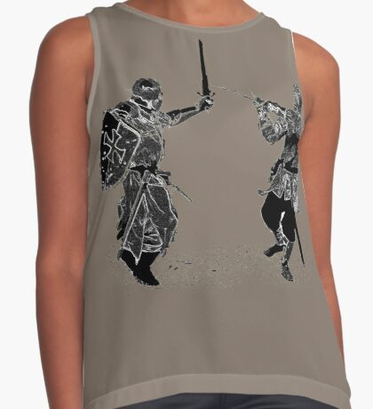 For victory wear a t-shirt: Medieval knights fight! Contrast Tank