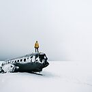 Plane wreck in Iceland with person - Landscape Photography by Michael Schauer