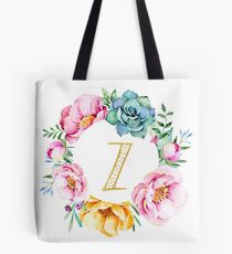 Watercolour floral initial wreath letter Z Tote Bag