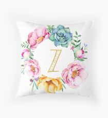 Watercolour floral initial wreath letter Z Throw Pillow