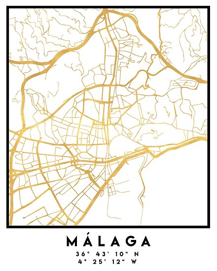 Malaga Spain City Street Map Art Posters By Deificusart Redbubble