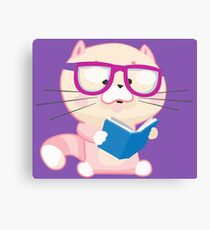 Cute Cat Little Nerd Canvas Print