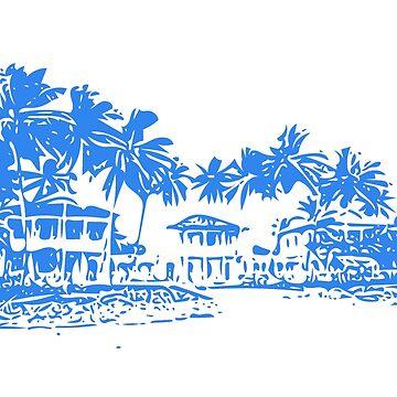 Beach, palm trees, Blue, Tropical, beach house, Sri Lanka by Gabs2