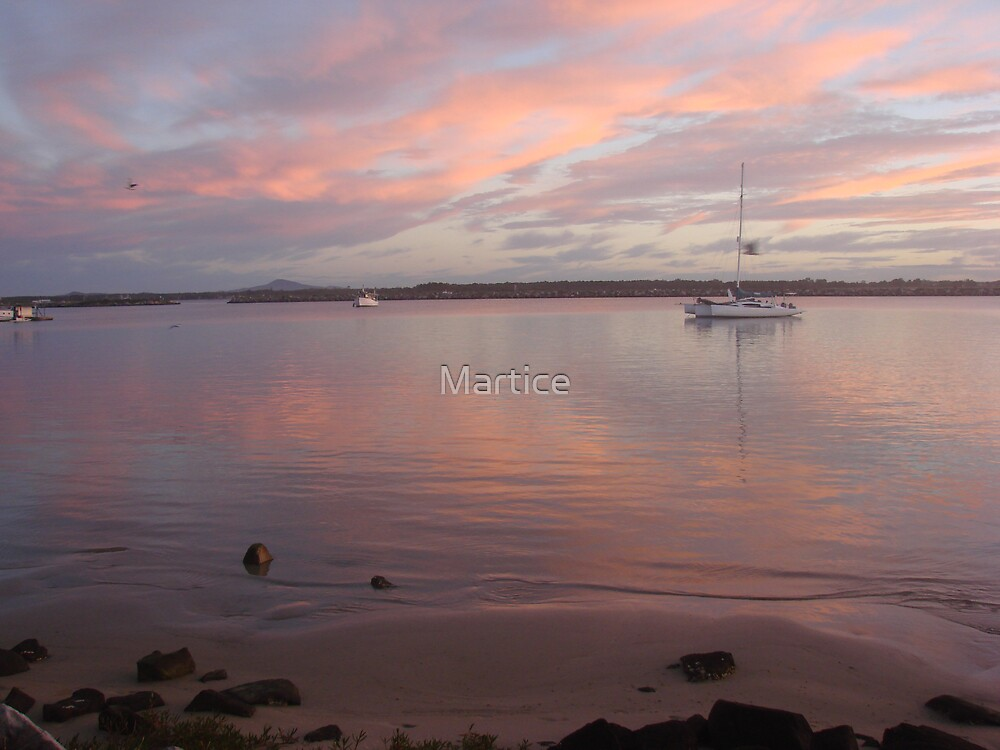 Calm Pink Boat Sunset by Martice
