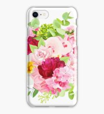 Summer bouquet of pink hydrangea, burgundy red peony, rose, iPhone Case/Skin