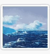 Wild Irish Sea Landscape Painting Sticker