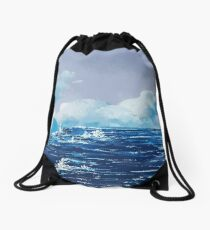 Wild Irish Sea Landscape Painting Drawstring Bag