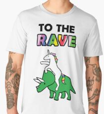 To The Rave! (Unicorn Riding Triceratops) Men's Premium T-Shirt