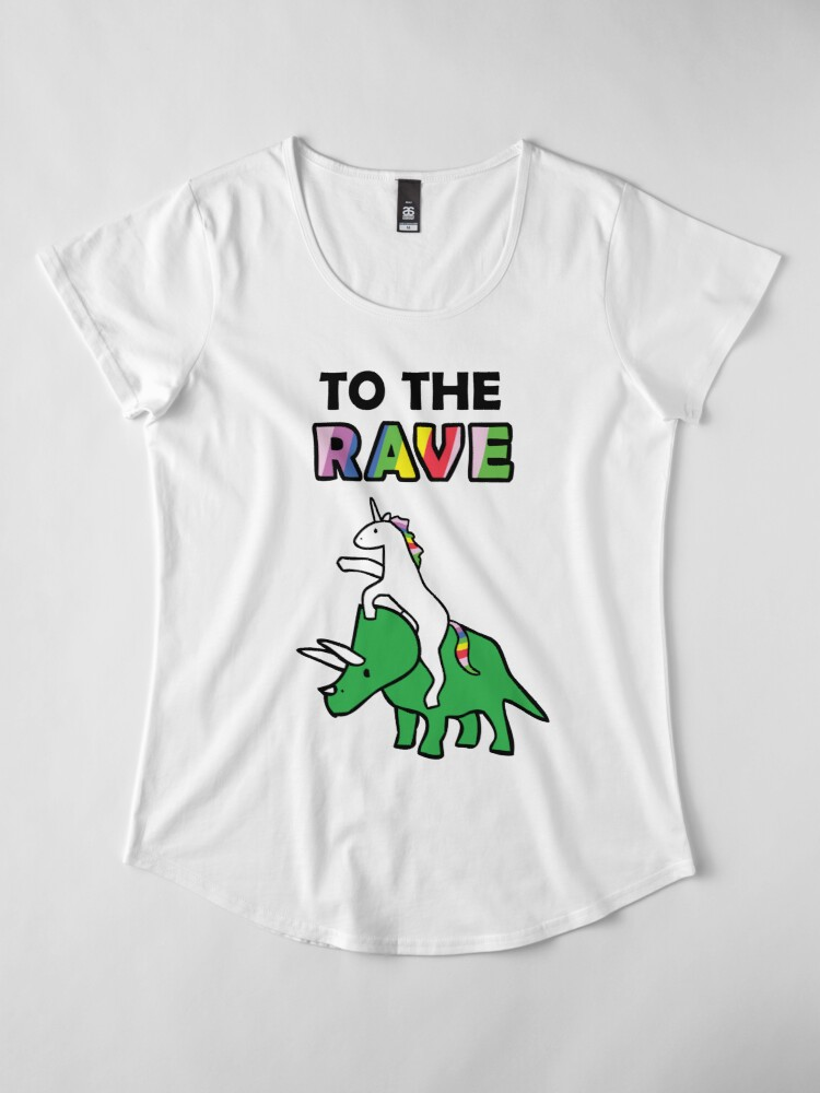 Alternate view of To The Rave! (Unicorn Riding Triceratops) Premium Scoop T-Shirt