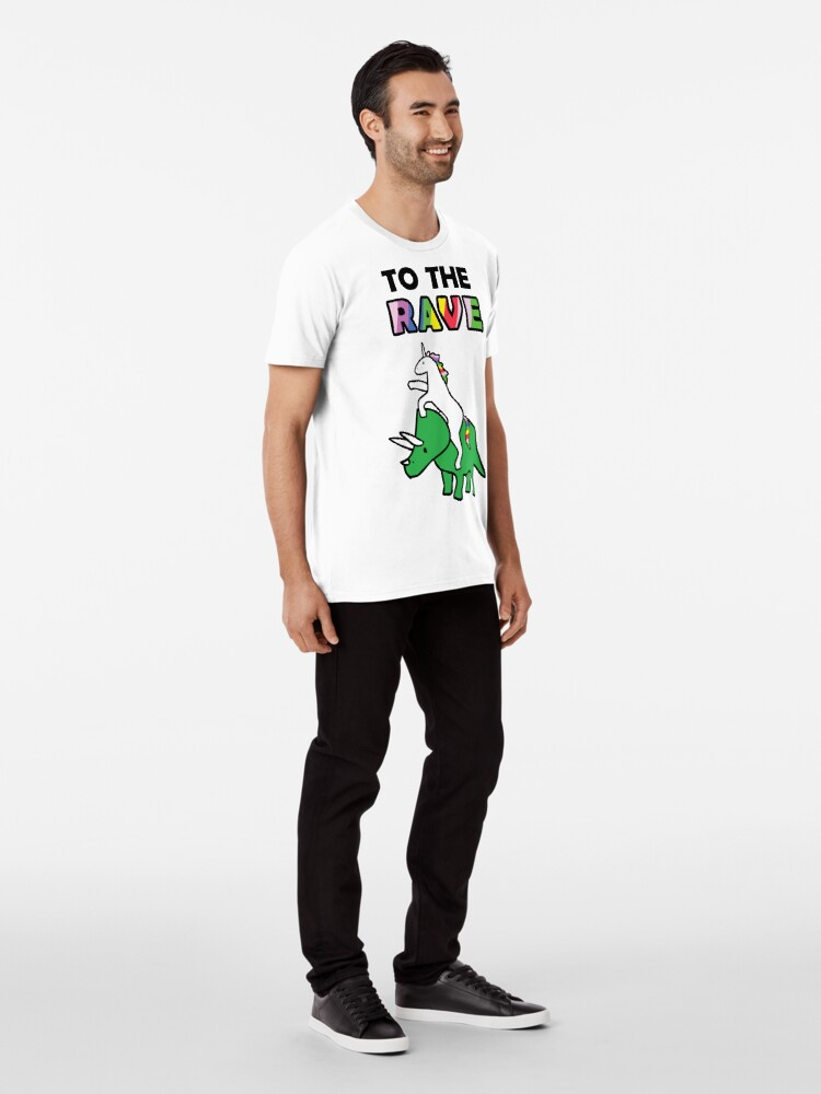 Alternate view of To The Rave! (Unicorn Riding Triceratops) Premium T-Shirt