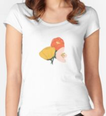 Gouache Painted Flowers Women's Fitted Scoop T-Shirt