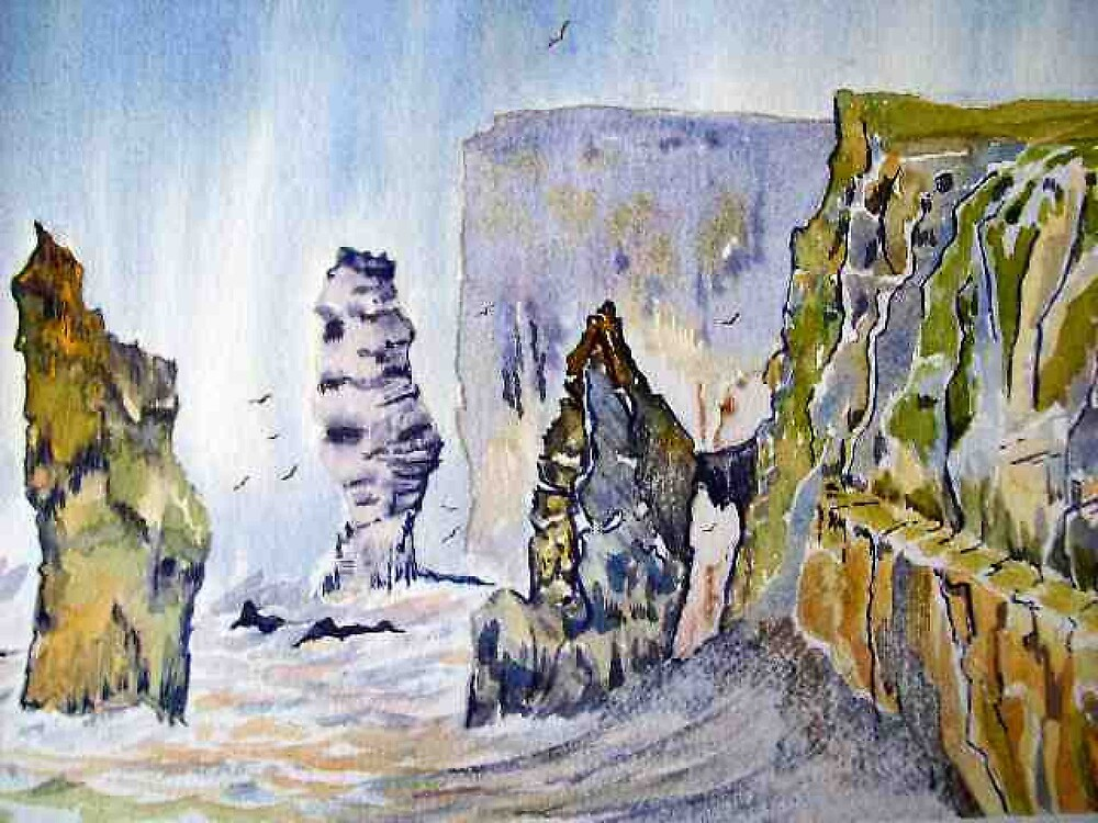 Seascape Cliff hanger crashing waves watercolour painting by Coolart by coolart
