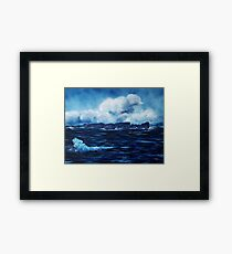 Tory Island, Wild Irish Sea. Landscape Painting Framed Print