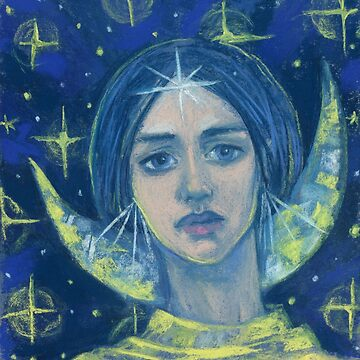 Hecate, Goddess of the Moon, pastel painting, fantasy art by clipsocallipso