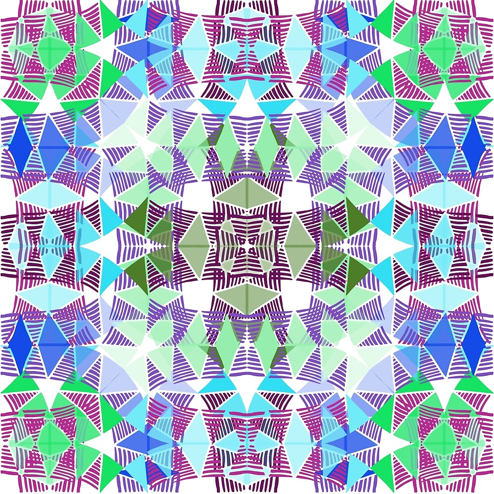 Colorful Tropical Abstract Zenspire Geometrical Pattern 2 by ThriveInk