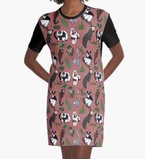 Lemur Pattern Graphic T-Shirt Dress