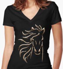 Golden Horse Women's Fitted V-Neck T-Shirt