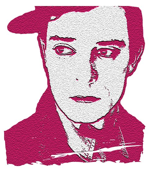 """""""Buster Keaton In Pink Digital Painting"""" Posters By"""