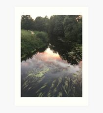 Blandford Forum, sun set, clouds, river. Art Print