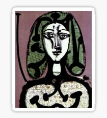 WOMAN WITH GREEN HAIR : Vintage Fantasy Painting Print Sticker